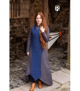 Apron medieval Isa, cotton blue