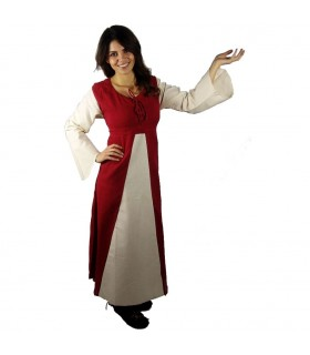 Dress medieval cotton-red-cream