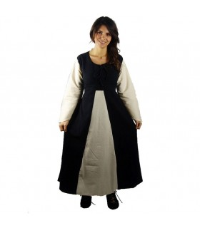 Dress medieval black cotton-beige