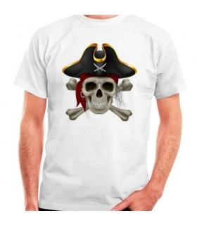 White t-shirt Pirate short sleeve