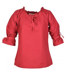 Blouse medieval women Birga, red