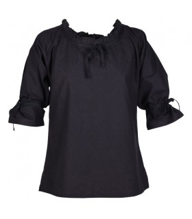 Blouse medieval women Birga, black
