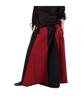 Skirt medieval long red-black