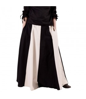 Skirt medieval long white-black