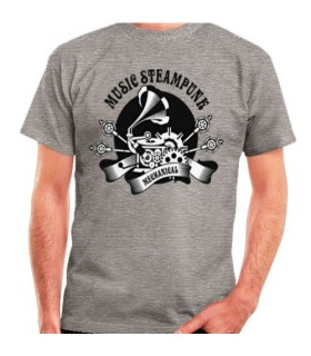 T-shirt Grey SteamPunk, short sleeve