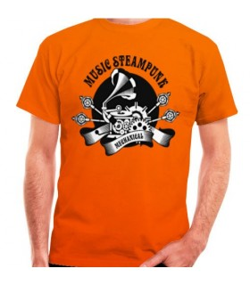 T-shirt Orange SteamPunk, short sleeve
