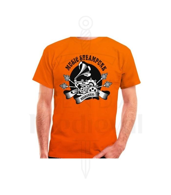 T-shirt Orange SteamPunk, short sleeve