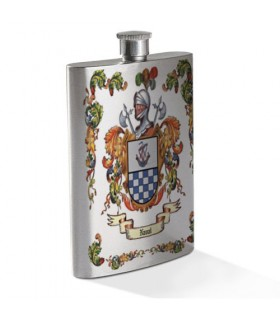 Hip flask with personalized Heraldic Coat of arms, 1 Surname