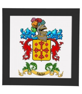 Tile framed Heraldic Coat of arms 1 Last name (17,3 x 17,3 cms.)
