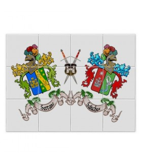 Mosaic Tiles Heraldic Shields 2 first name last name (without a background)