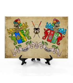 Tile Coats of Arms with 2 names, with background (30x20 cms.)