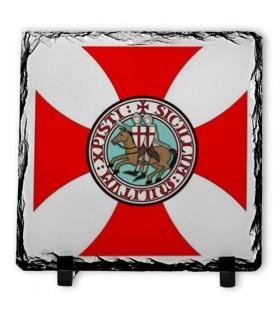 Shield Knights Templar on Stone Slate (20x20 cms.)