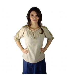Blouse medieval ties, 2 colors (brown-cream)