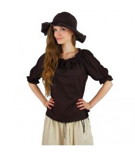 Blouse medieval ties, 2 colors (brown-cream)