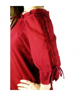 Blouse medieval ties, 2 colors (red-black)