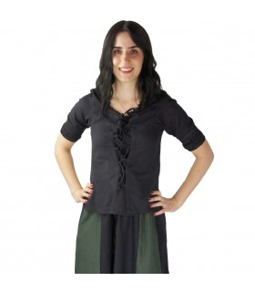 Blouse medieval ties, black