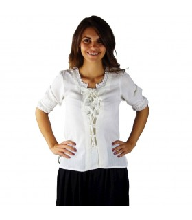 Blouse medieval ties, white