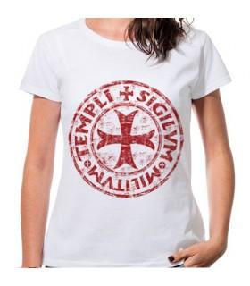 T-shirt Woman White Cross knights Templar, short sleeve
