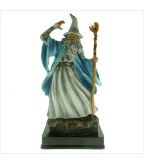 Miniature Magician Merlin casting spell, 25 cms.