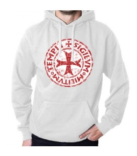 Sweatshirt White Knights Templar with Hood