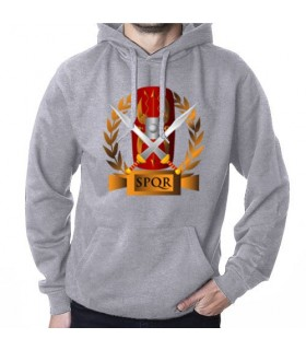 Sweatshirt Grey Roman Legions, SPQR, with Hood