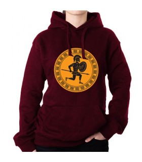 Sweatshirt Red Wine warrior Greek, with Hood