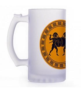 Beer mug Greek fighters, crystal translucent