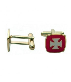 Cufflinks Templar Cross, enamelled