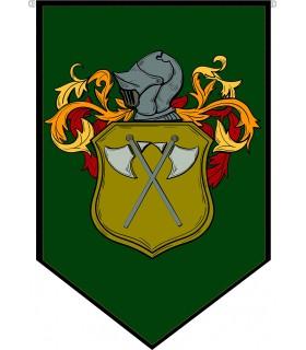 Banner Medieval Heraldic Coat of arms helmet with spears