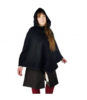 Gugel viking Egill, black wool