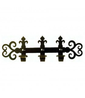 Hanger medieval wrought iron with 3 hooks (60x18 cms.)