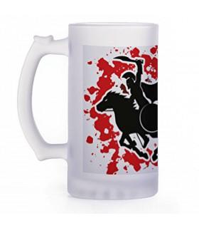 Beer mug Greek warriors, crystal translucent