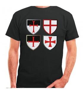 T-shirt black Templars Crosses, short sleeve