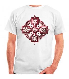 White t-shirt Celtic Cross, short sleeve