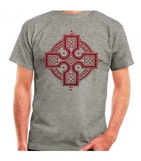 T-shirt Grey Celtic Cross, short sleeve