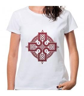 T-shirt Women's White Celtic Cross, short sleeve