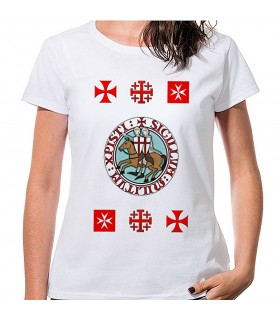 T-shirt Woman White Templars with crosses, short sleeve