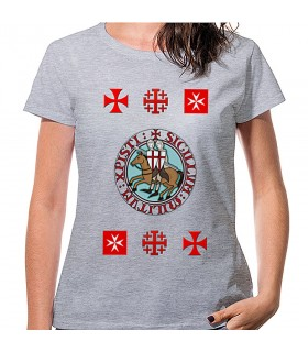 T-shirt Woman Grey Templars with crosses, short sleeve