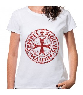 T-shirt Woman White Cross and Legend of the knights Templar