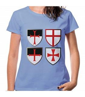 T-shirt Blue Crosses, Knights Templar, short sleeve