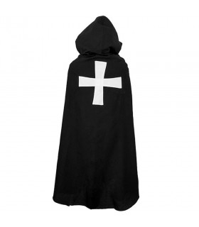 Black cap with Christian Cross White