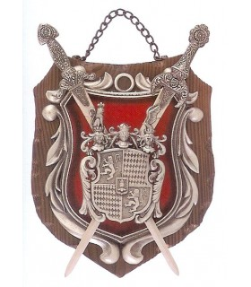 Coat of Arms 2 wooden swords on red background (28x21 cm)