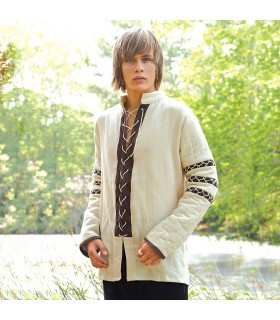 Shirt Nordic padded, cream-colored