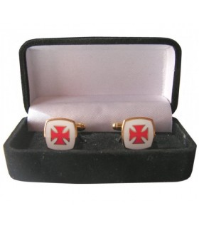 Cufflinks Templar Cross, enamelled with jeweler