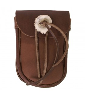 Bag brown with button horn