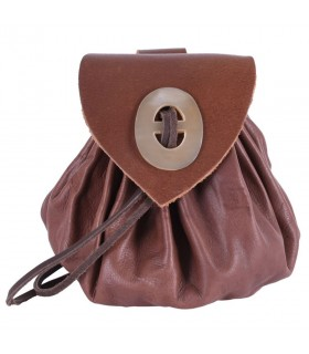 Bag Geldkatze medieval brown leather with clasp horn