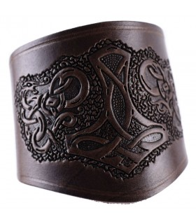 Bracelet-wrist band short Hammer of Thor with lace-up