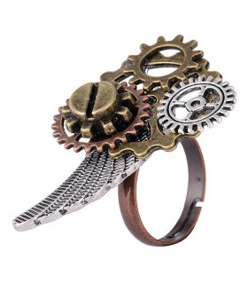 Adjustable ring SteamPunk Angel Wing
