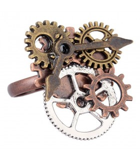 Adjustable ring SteamPunk gears clock