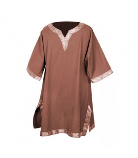 Tunic medieval with piping, short sleeve